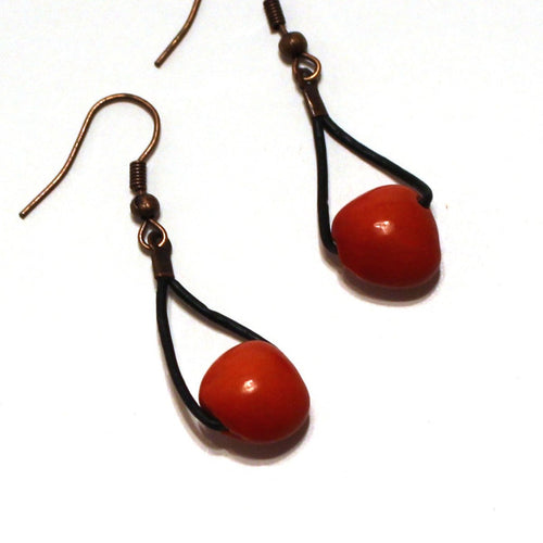 Red Huayruro Seed Earrings - Rain Forest Seed Jewelry - Natural Artist