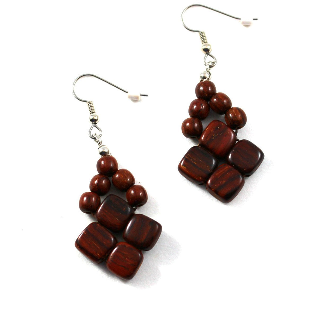 Rosewood Earrings - Diamond - Natural Artist
