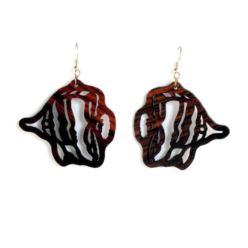 Rosewood Earrings - Angel Fish - Natural Artist