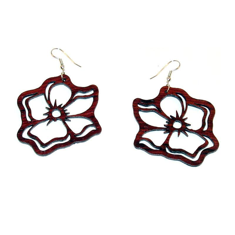 Rosewood Earrings - Hibiscus - Natural Artist