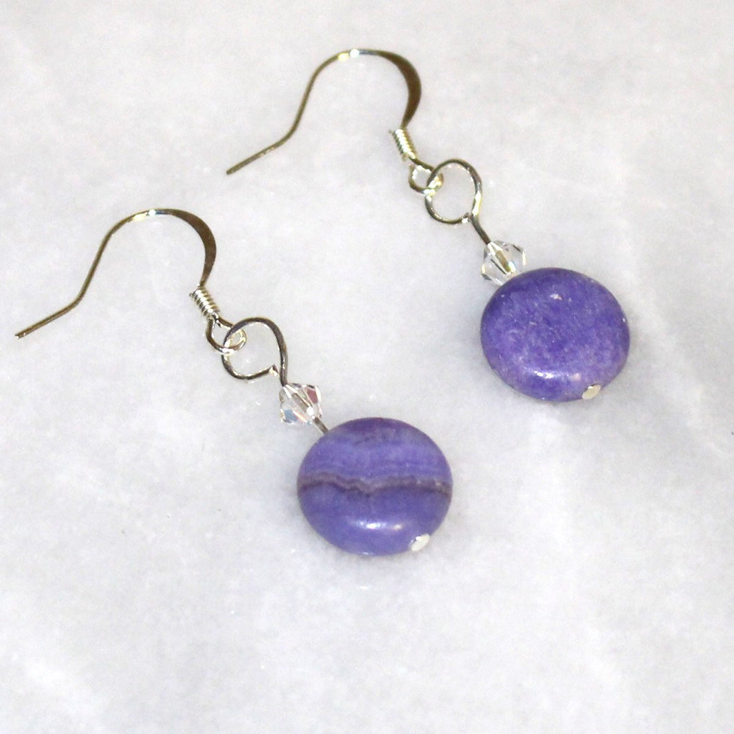 Purple Stone Earrings With Swarovski Crystal - Natural Artist