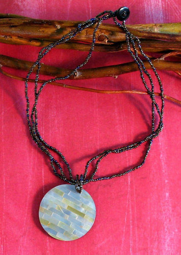 Tile Shell Beaded Necklace - Natural Artist