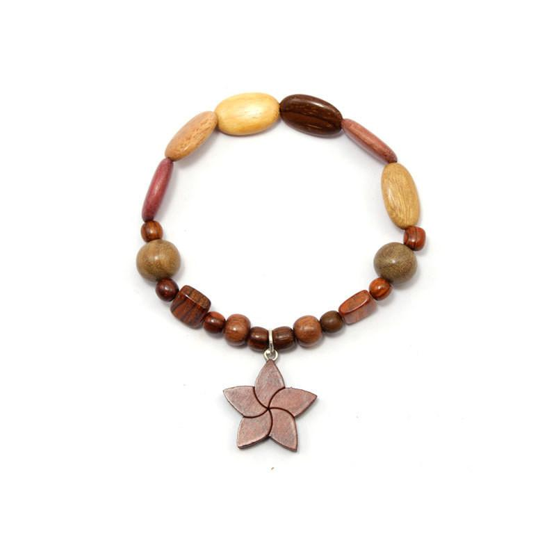 Wood Bracelet - Star Flower - Natural Artist