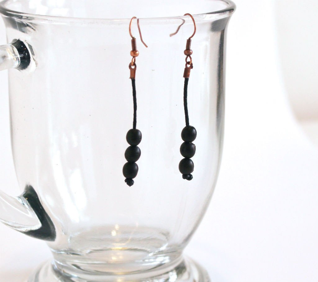 Black Rain Forest Seed Drop Earrings - Natural Artist