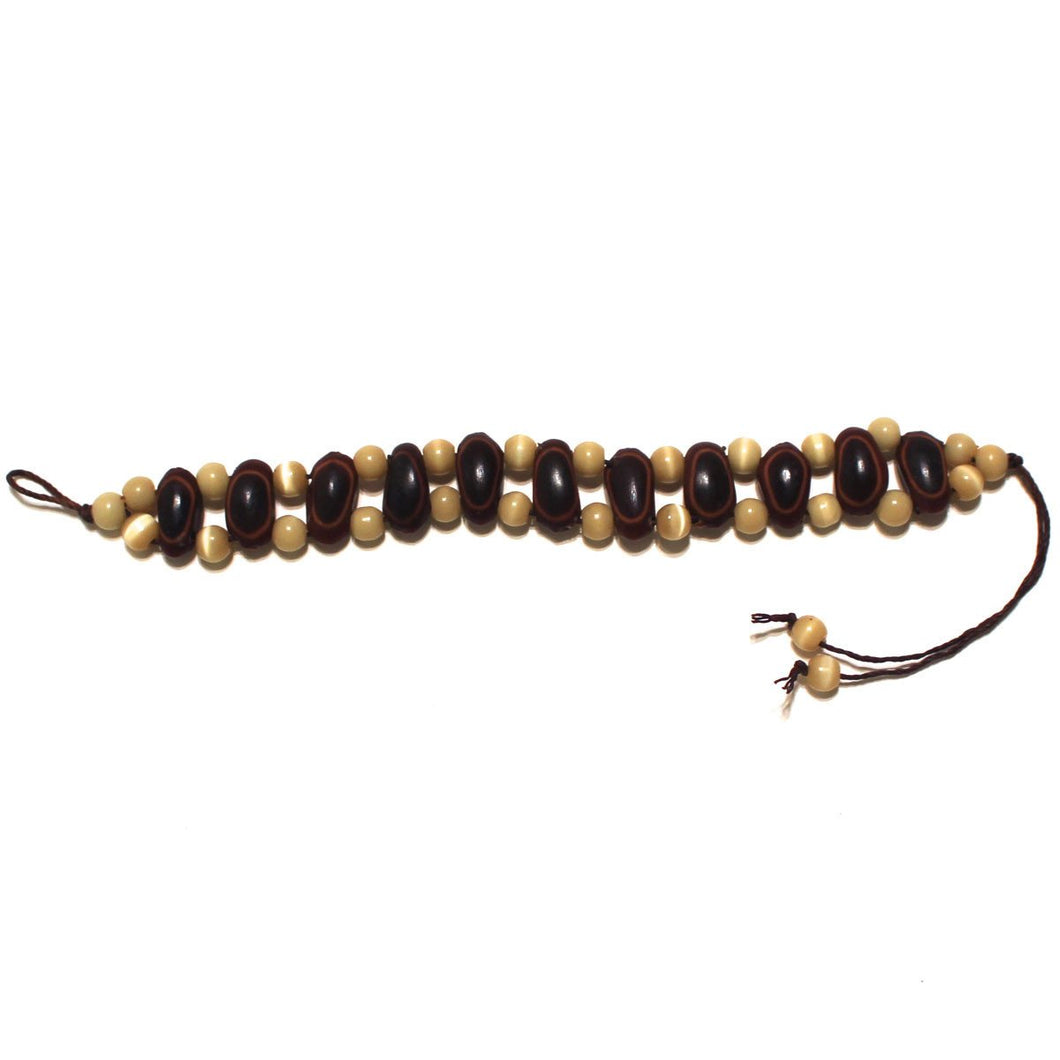 Guanacaste Rainforest Seed and Caramel Crystal Bracelet - Natural Artist