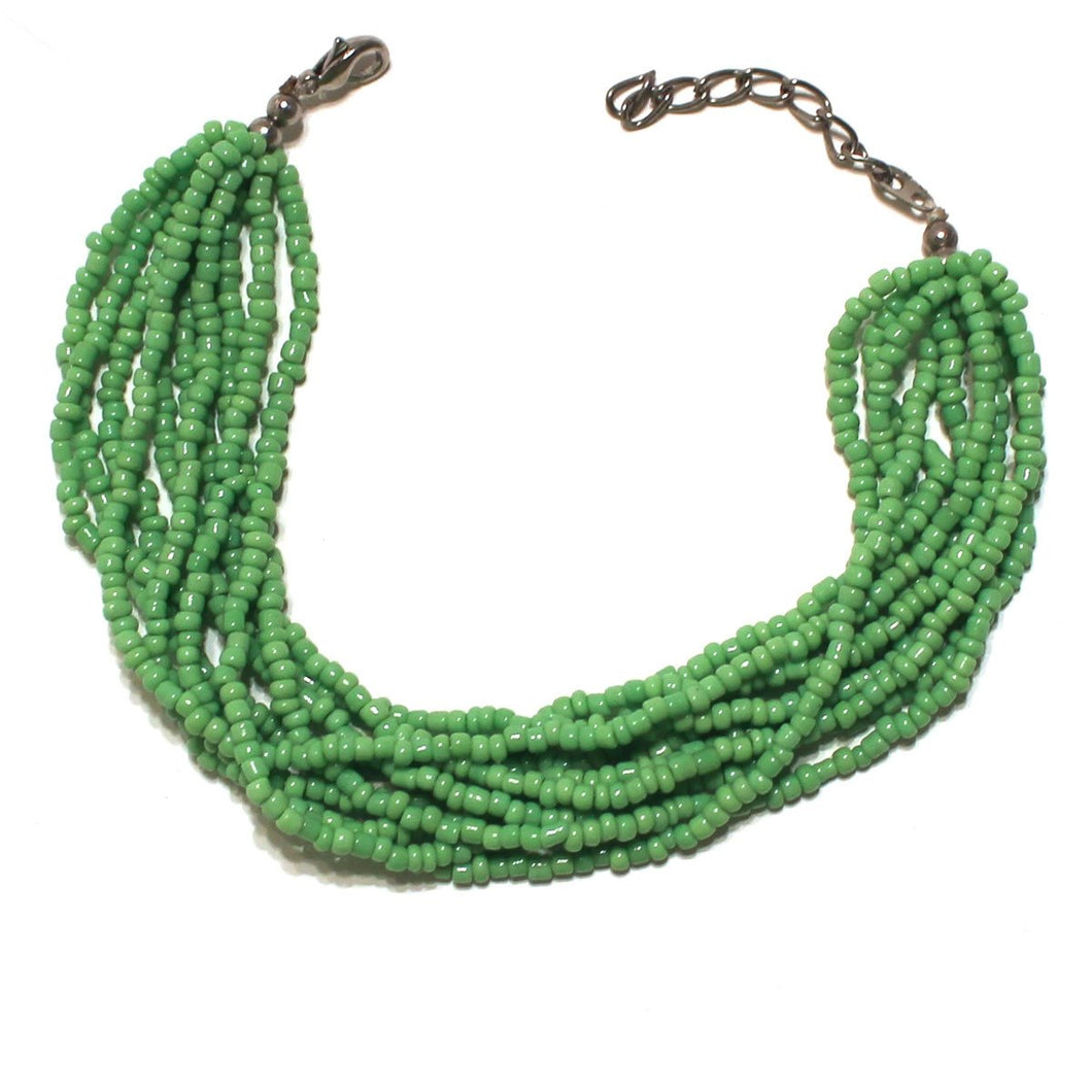 Green Beaded Multi Strand Mayan Bracelet - Natural Artist