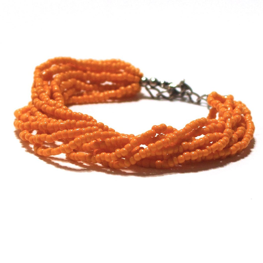 Orange Beaded Multi Strand Mayan Bracelet - Natural Artist