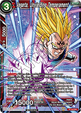 DBSCG P-143 PR Vegeta, Unyielding Temperament (Power Booster: World Martial Arts Tournament)