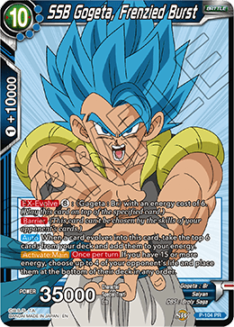 DBSCG P-104 PR SSB Gogeta, Frenzied Burst (BT6 Dash Pack)