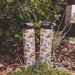 two alcmena insulated drink bottles in nature