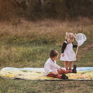 brother and sister playing on picnic mat