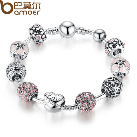 Silver Charm Bracelet with Love and Flower Crystal