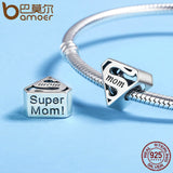 925 Sterling Silver Super Mom Charm