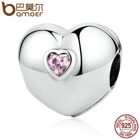 925 Sterling Silver Steady Heart, Pink CZ Clip Charm