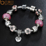 Charm Bracelet with Heart Pendant & Cherry Blossom Charm