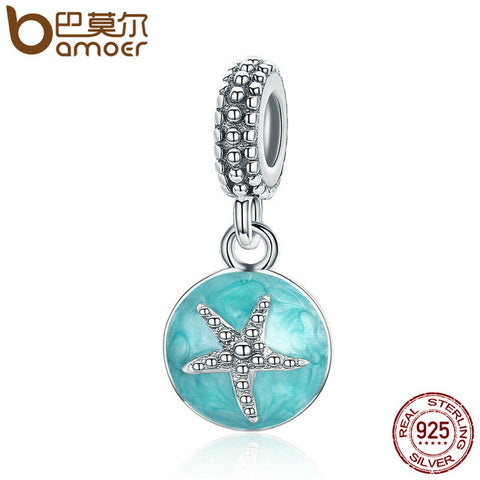 925 Sterling Silver Sea Star Enamel Charm