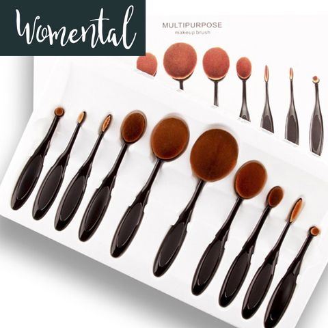 10Pcs Oval Makeup Brush Set