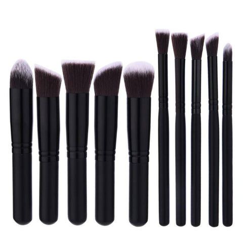 10Pcs Matt Black Brush Set