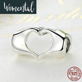 925 Sterling Silver Hand Heart Bead