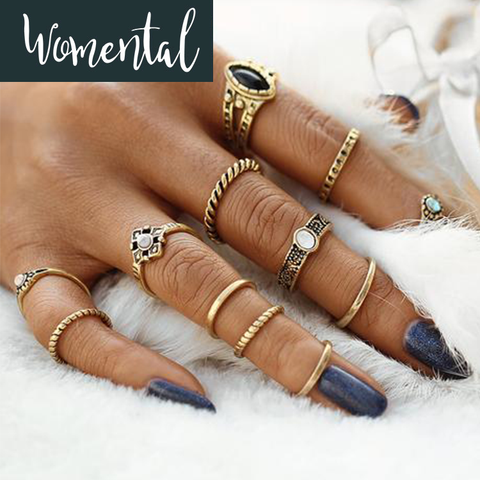 12Pcs Vintage Midi Ring Set - Antique Gold
