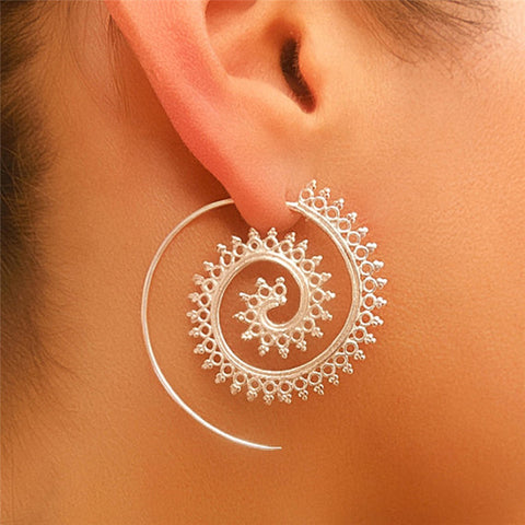 Spiral Indian Ethnic Hoop Earring