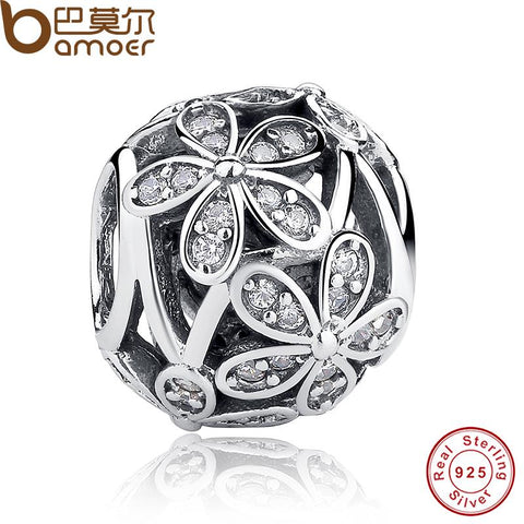 925 Sterling Silver Crystal Daisy Charm