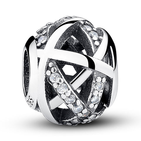 925 Sterling Silver Crystal Band Charm