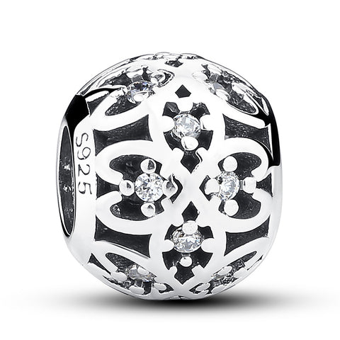 925 Sterling Silver Crystal Pattern Charm