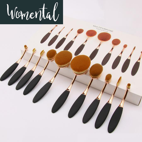10Pcs Luxury Oval Makeup Brush Set