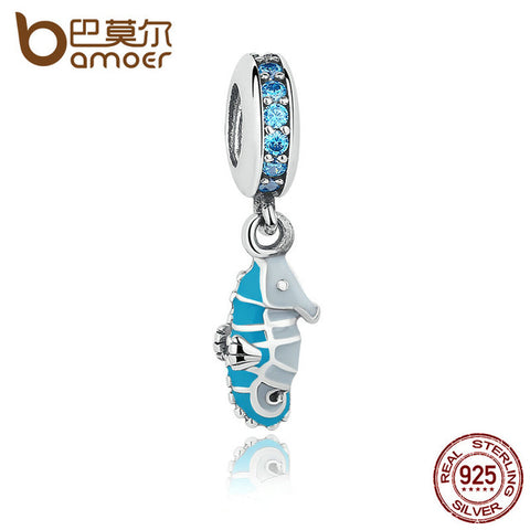 925 Sterling Silver Seahorse Teal CZ & Stone Charm