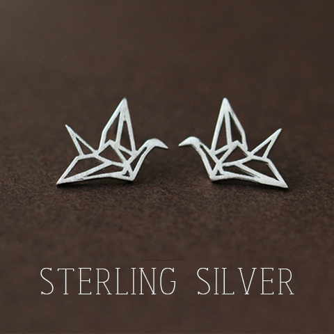 925 Sterling Silver Paper Crane Earrings