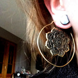 Lotus Brass Ear Hoop