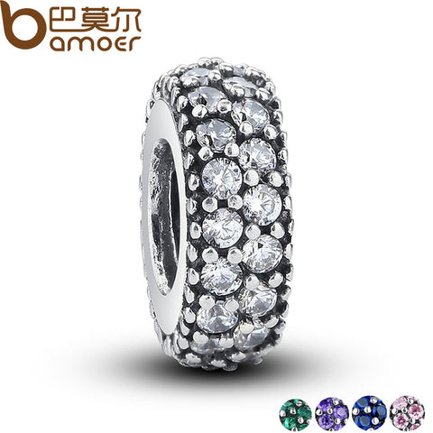 925 Sterling Silver Inspiration Spacer Clear CZ Charm