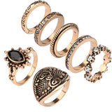 7pcs/Set Bohemian Vintage Punk Antique Rings