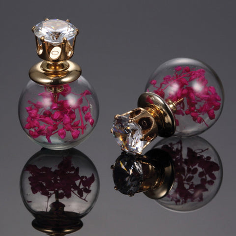 Glass Ball Double Stud Earrings