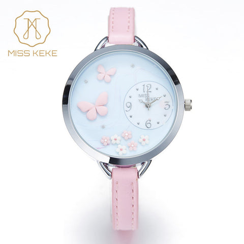 3D Butterfly Flower Clay Inlay Watch