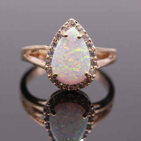 Fire Opal Ring - Gold Plated, AAA Cubic Zircon