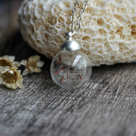 Dandelion Seed Glass Ball - 925 Sterling Silver Chain