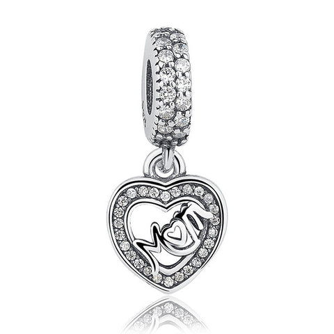 925 Sterling Silver Radiant Mom Charm