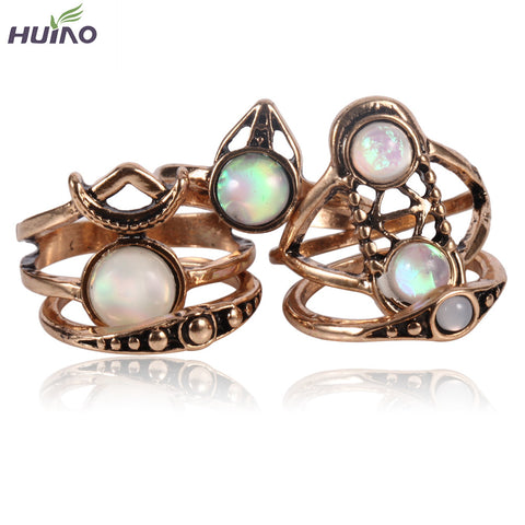 5Pcs/set Vintage Bohemian Retro Ring Set