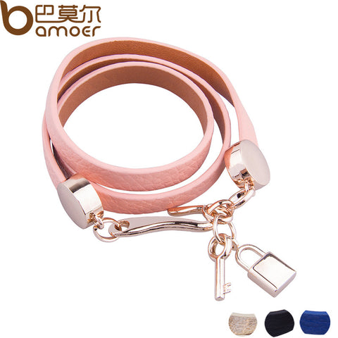 Luxury Gold Genuine Pink Leather Bracelet
