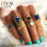 8Pcs/Set Vintage Tibetan Turkish Mix Midi Ring Set