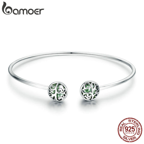 925 Sterling Silver Tree of Life Green Crystal Open Cuff Bangle