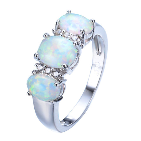 Unique Round Fire Opal Ring White Gold Filled Crystal