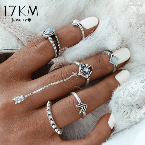 6 Pcs/set Vintage Carved Arrow Ring Set