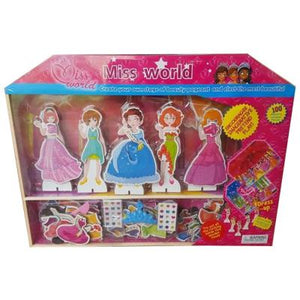 Miss World Magnetic  Wooden  Piece Dress Up