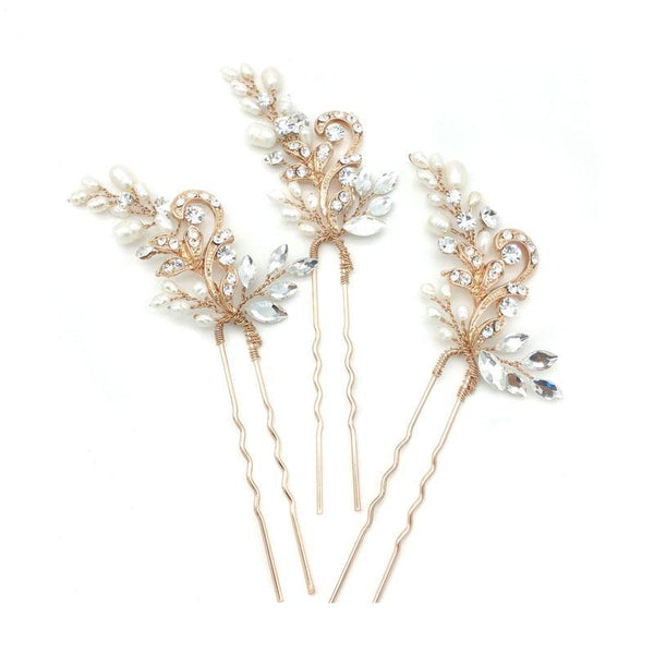 Hair Pin Trio (Rose Gold) FW Pearls & Crystals