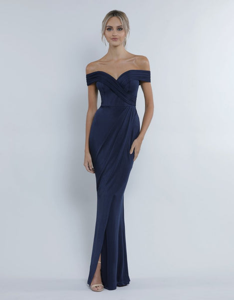 Tatiana Off-Shoulder Draped Gown - Midnight