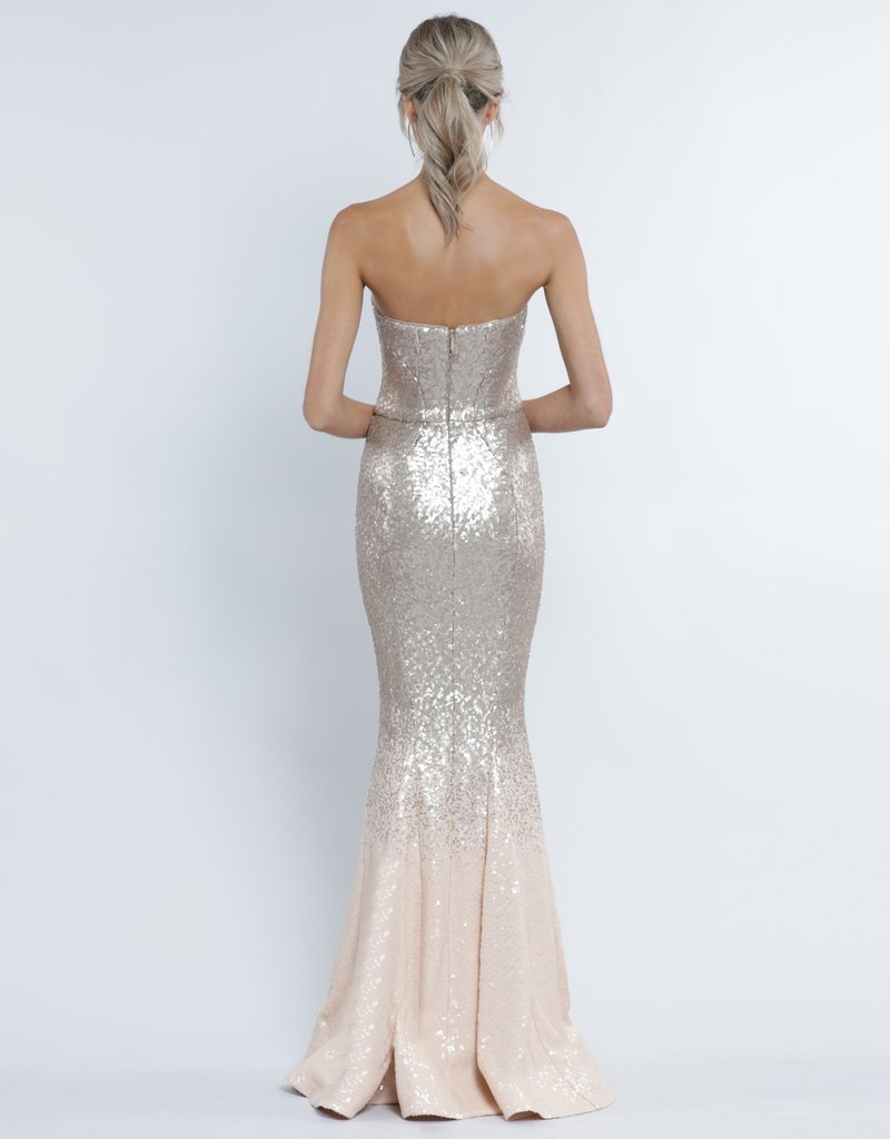Lauren Sweetheart Sequin Gown - Champagne Matte