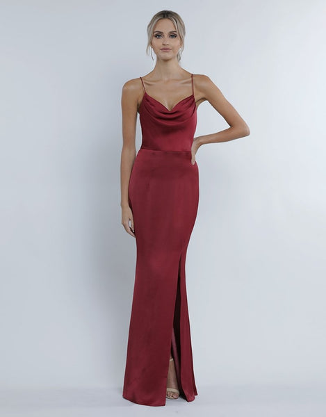 Stephanie Cowl Draped Satin Gown - Velvet Red